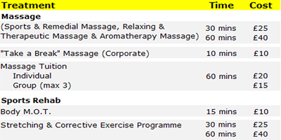 Sports massage and sports injury clinic prices